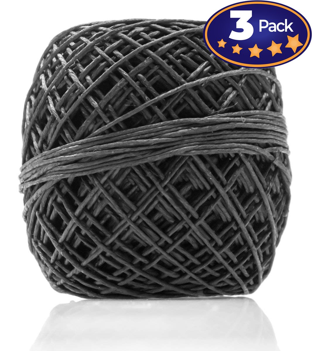 Black Hemp Cord 200 3 Pack = 600 Feet Total! Perfect For Jewelry & Necklace Making, Candle Wicks, or Decorative String. 20lb Weight, 1mm Thick & Lightly Waxed Twine For Easy Handling. American Hemp Suppliers 4336807330