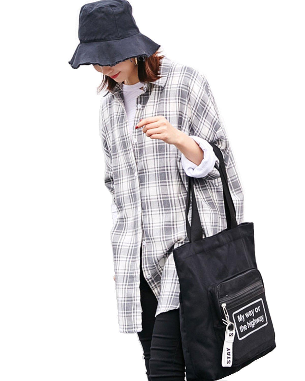 Black/Beige Color Women's Cotton Shoulder Bag/Cross Body Tote Bag With Mesh Pocket (cotton, Black)