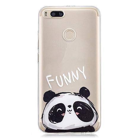 Funluna Funda Xiaomi Mi 5X, Carcasa Xiaomi Mi A1, Panda Diseño Cubierta de Silicona Gel Case Ultra Delgado TPU Goma Flexible Cover Transparent Carcasa ...