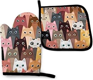 Abucaky Funny Oven Mitts and Pot Holders Cute Cats Insulated Gloves & Kitchen Counter Safe Mats for Cooking BBQ Baking Grilling (2-Piece Set)