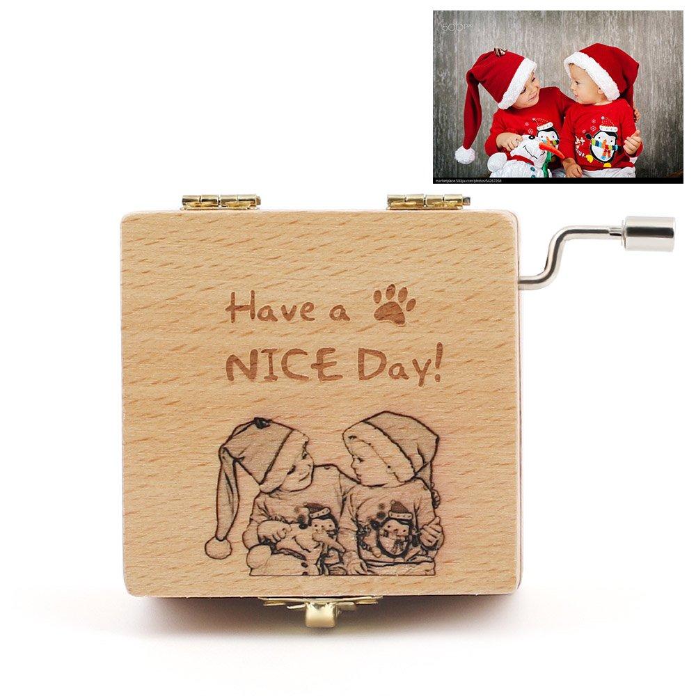 JF Caja de Música Personalizada con Espejo, Caja Musical manivela Hecha a Medida con Cualquier Foto o Palabra: un Regalo Perfecto para Navidad/Cumpleaños: ...