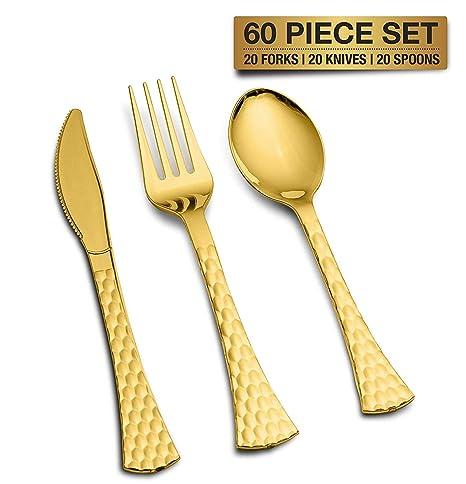 Juego de cubiertos desechables de plástico dorado para fiestas, bodas, etc. Metalic Gold