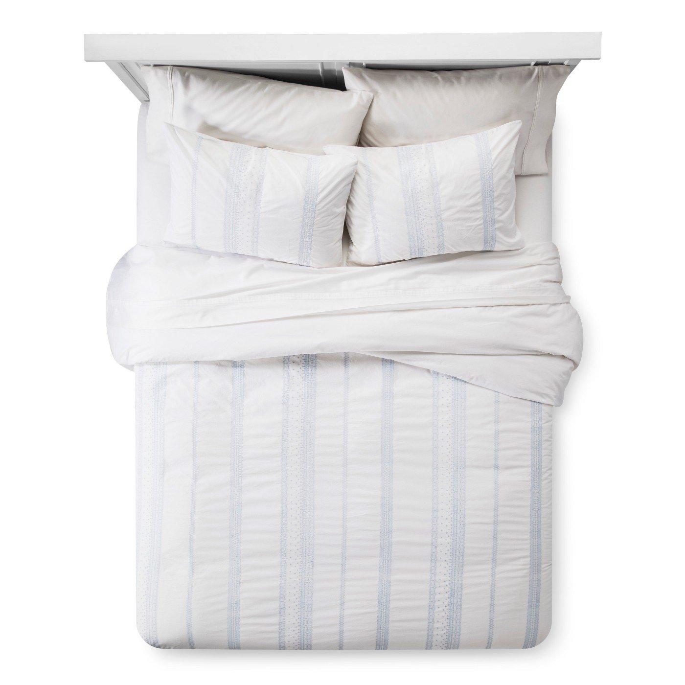 Simply Shabby Chicボヘミアンホワイト&ブルー刺繍3ピースコットン布団カバー&枕カバーセット、キング B07BDHG9ZF