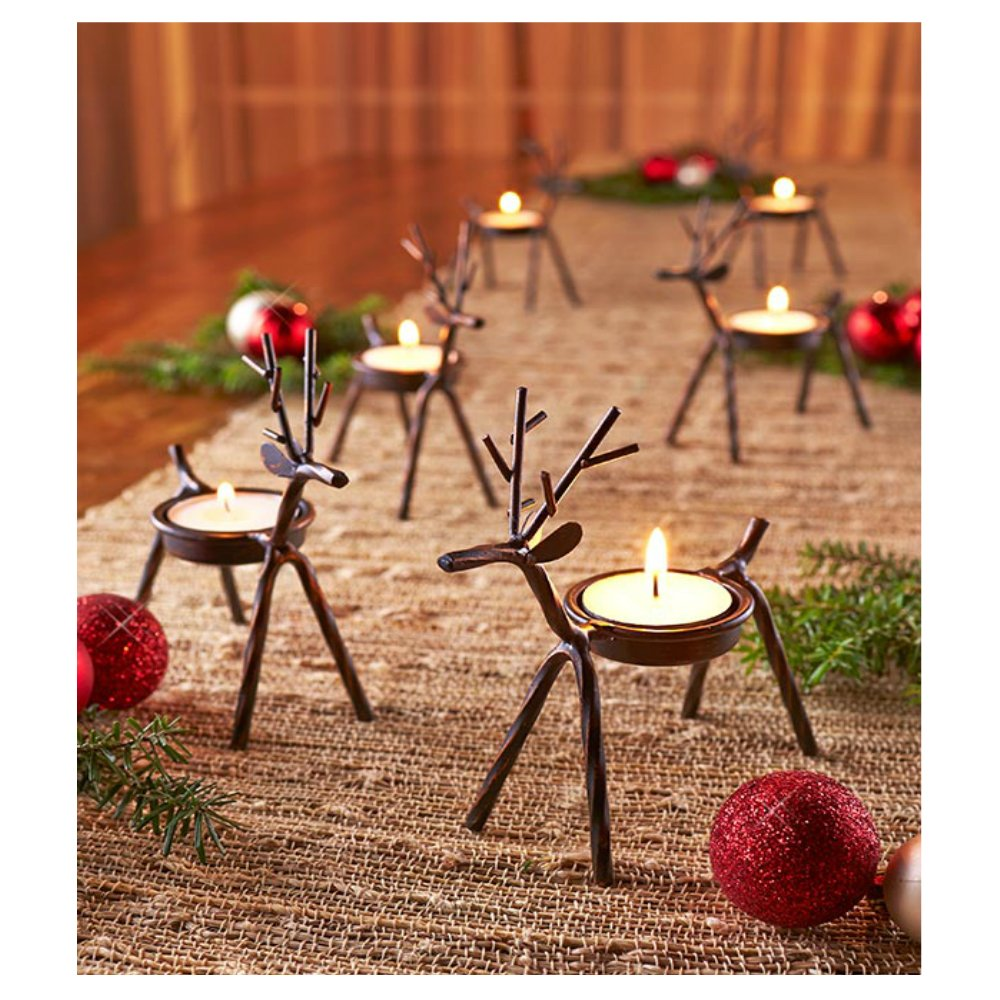 Amazon.com: Reindeer Tealight Candle Holders Metal   Set Of 6   Best For  Christmas Holiday: Home U0026 Kitchen