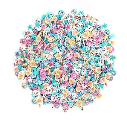 Frcolor 1000 unids Vacaciones de Navidad Fimo Nail Art Slice Decoración Slime Fabricación de Suministros Uñas