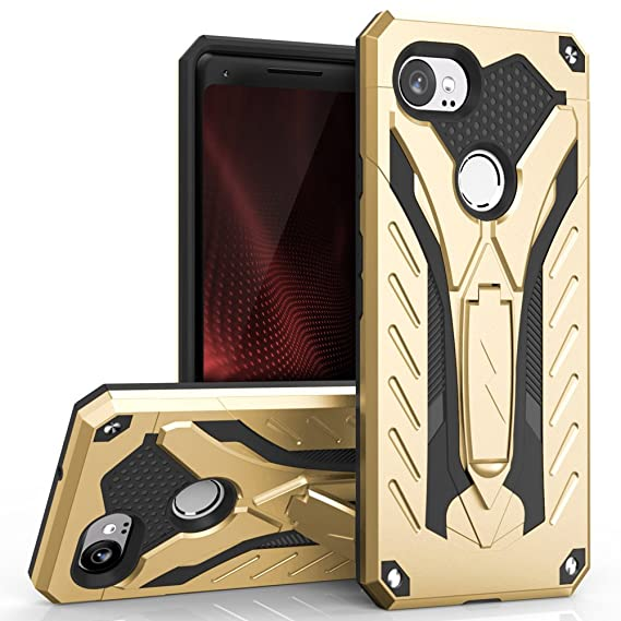 new arrival 4f058 fc973 Zizo Static Series Google Pixel 2 XL Case - Impact Resistant, Military  Grade 810.1-G with Built in Kickstand(Gold/Black)