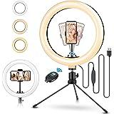 ELEGIANT LED-ringljusstativ 10,2 tums Selfie-ringljus Makeup Dimbar 3 ljusfärger + 11 ljusstyrkenivåer Justerbart…