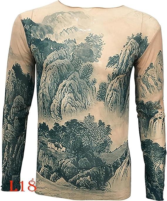 Uniqstore Nueva China Paisaje Pintura Palacio Tatuaje Camiseta Tops de Tatuaje Biker Ciclismo Centro de Fitness Tallas Grandes Camiseta Unisex Mujeres Hombre Camiseta: Amazon.es: Ropa y accesorios