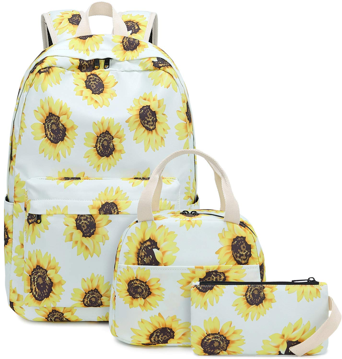 BLUBOON Teens Backpack Set Girls School Bags Kids Bookbags 3 in 1 (Sunflower White) by BLUBOON