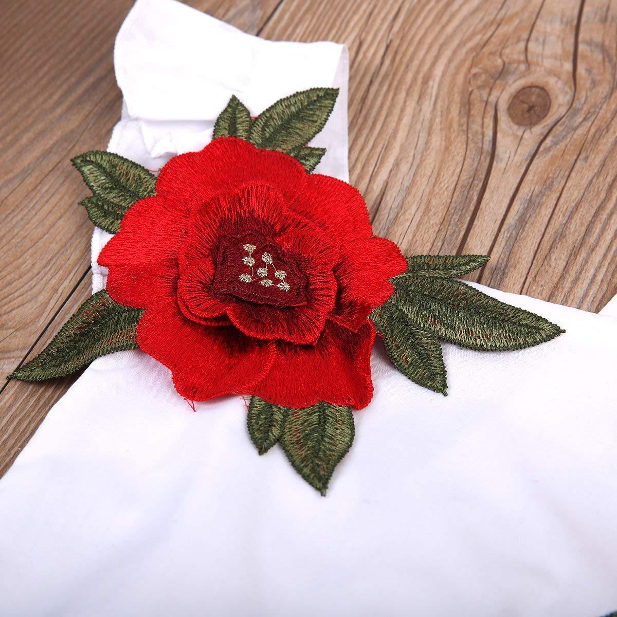 WANGSAURA Baby M/ädchen Strampler Blumen Stickerei Bodys R/üschen Spieler Einteiler Kleinkind Prinzessin Sommerkleid Outfits /Ärmellos s/ü/ße Kleidung 0-24Monate