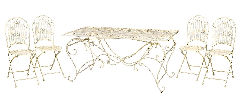XXL Gartentisch + 4 Stühle Eisen Gartenmöbel antik Stil creme weiß furniture