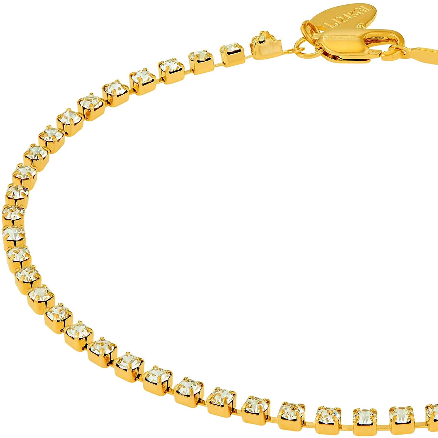 Lifetime Jewelry Ankle Bracelet 24k Gold Plated Iced Out Cubic Zirconia Anklet Durable Tennis Bracelet for Women Teen Girls – Cute CZ Charm with Free Lifetime Replacement Guarantee 9 10 11 inch