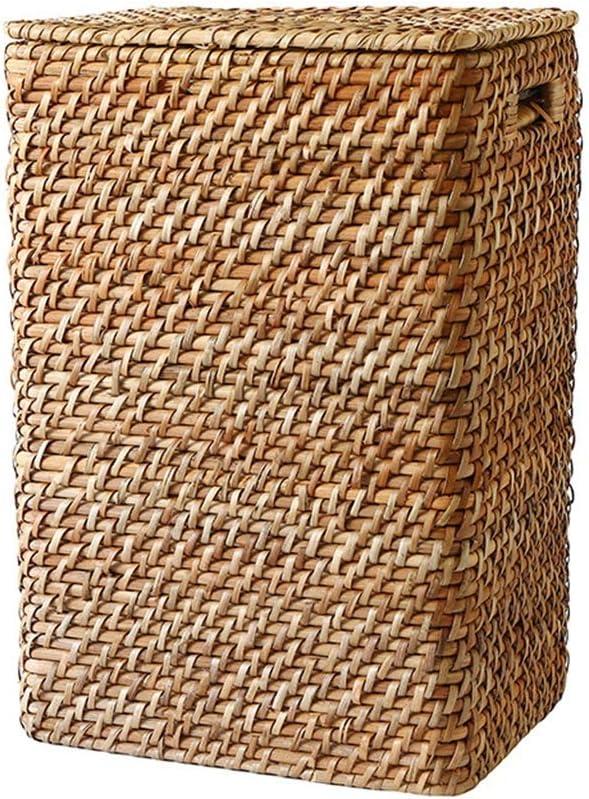 両側に藤洗濯物用かご大規模なストレージバスケット手作りの織環境保護の収納ボックスハンドルのデザイン(製品は裏地を与えるものではありません) SMMRB