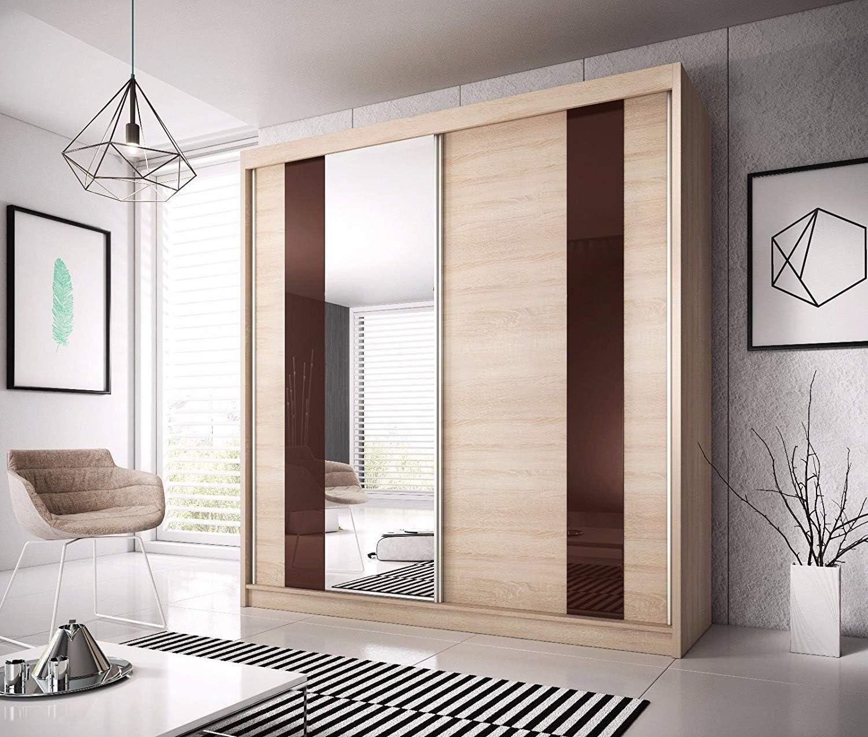 Armario con puerta correderas de roble con espejo F37 Sonoma., madera, roble Sonoma, 233cm: Amazon.es: Hogar