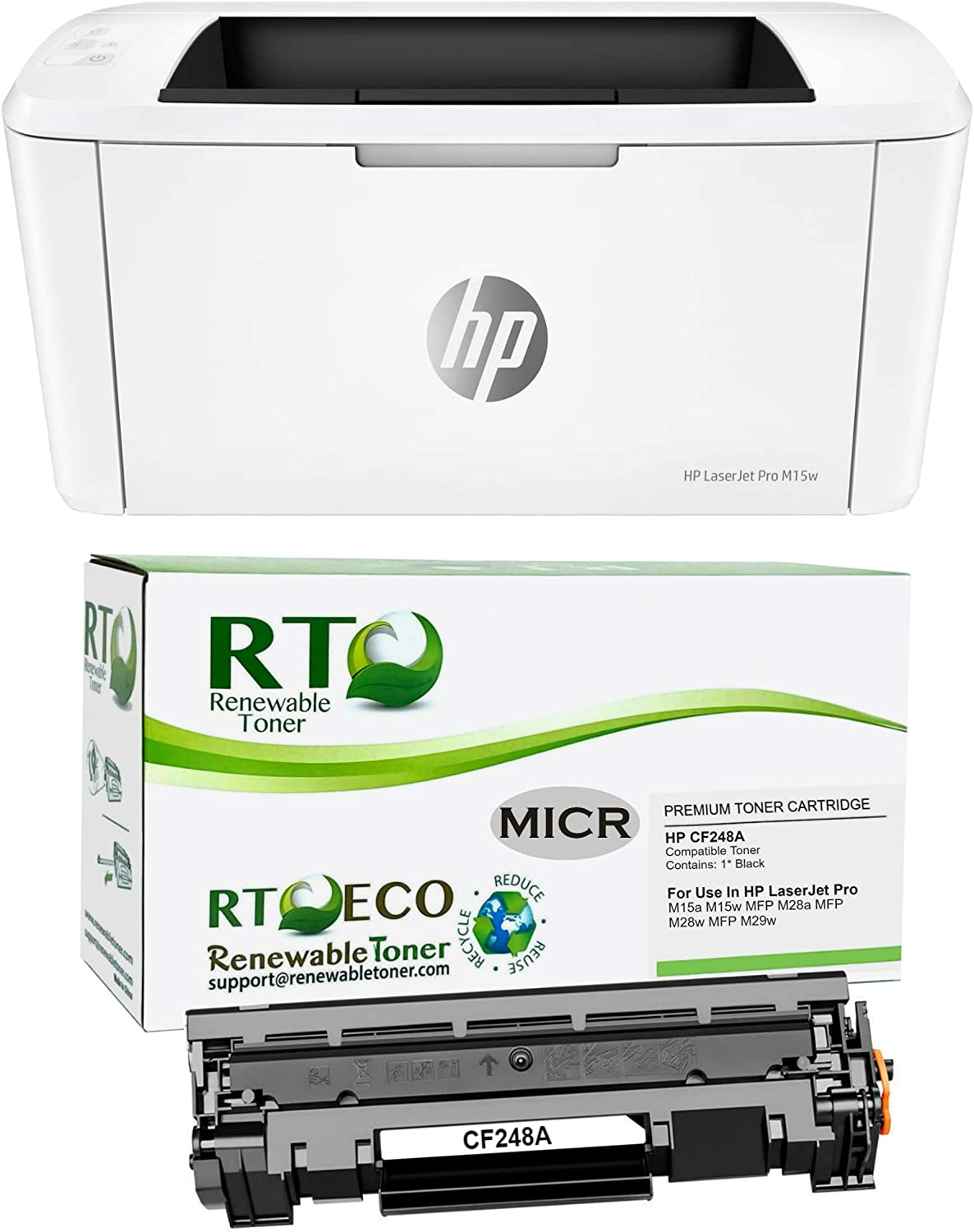 Renewable Toner Laserjet M15w Check Printer Bundle with Compatible HP CF248A 48A MICR Toner Cartridge (2 Items)