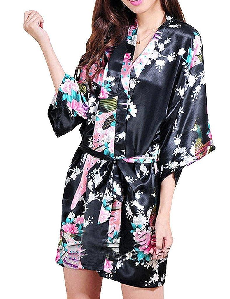 TALLA XL. Surenow Mujer Vestido Kimono Pavo & Flores Albornoces Pijamas Satén