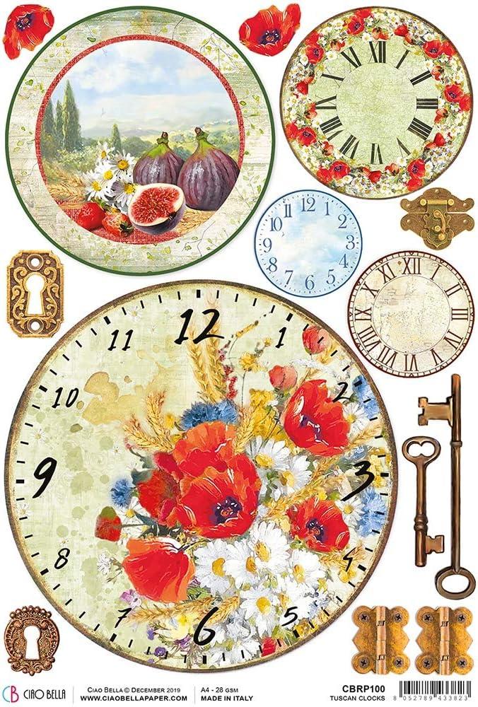 unter der toskanischen Sonne Einheitsgr/ö/ße Toskanische Uhren CIAO BELLA PAPER CBRP100 UNTER DER TU RICE PA TUSCAN CLK