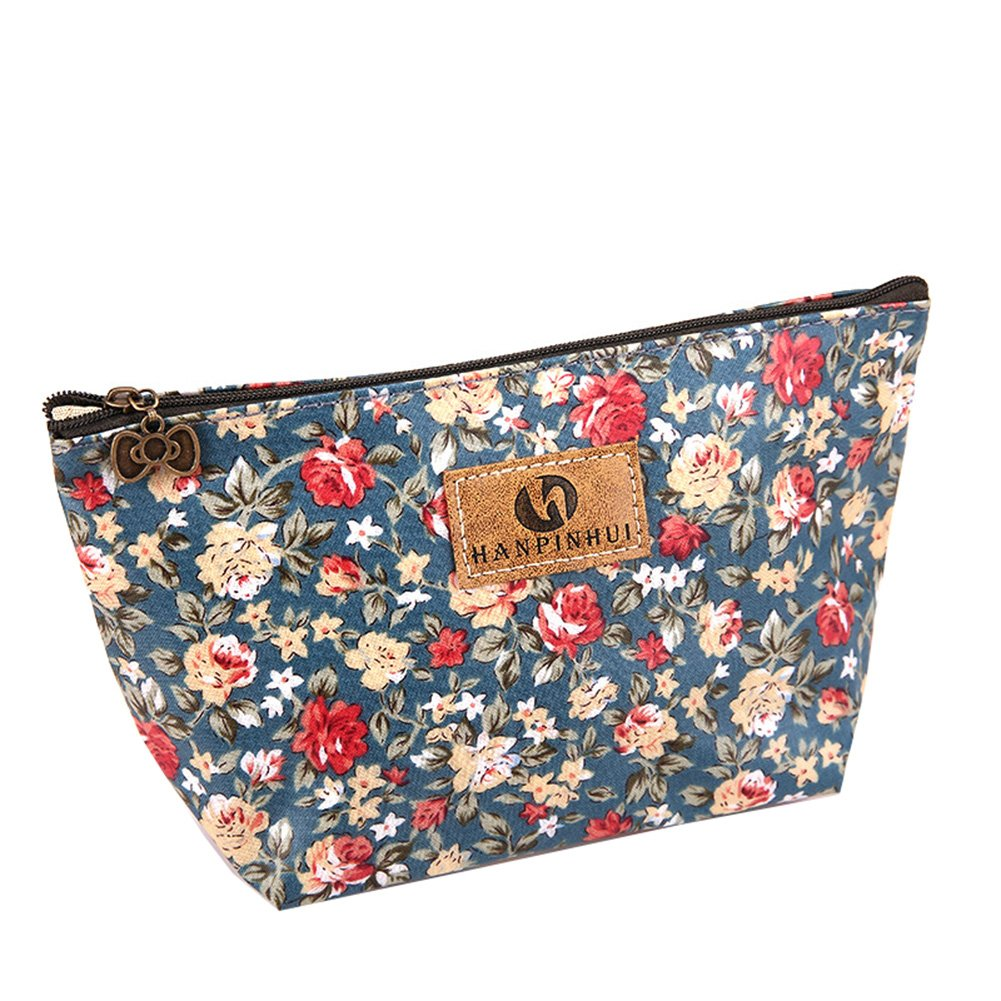 Kanggest Kosmetiktaschen Blumenmuster Make up Reise Verpackung Federmappe Mäppchen Tüte Beutel Zipper Kulturbeutel Make Up Bag Reißverschluss für Frauen