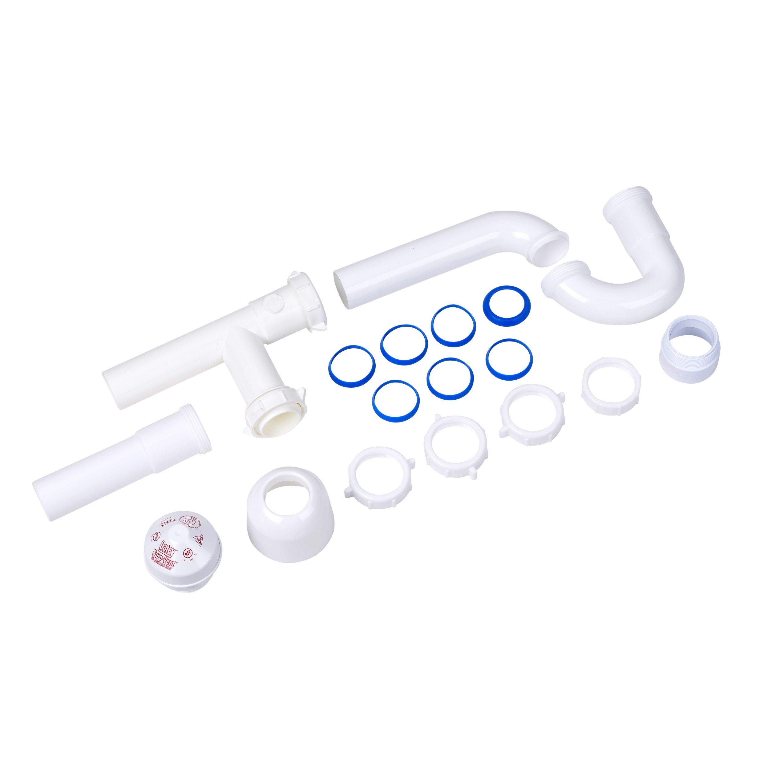 "Oatey 39239 1.5"" 6 DFU AAV Installation Kit 1-1/2"" P-trap, 6"" extension tube, PVC threaded adapter & deep box flange"
