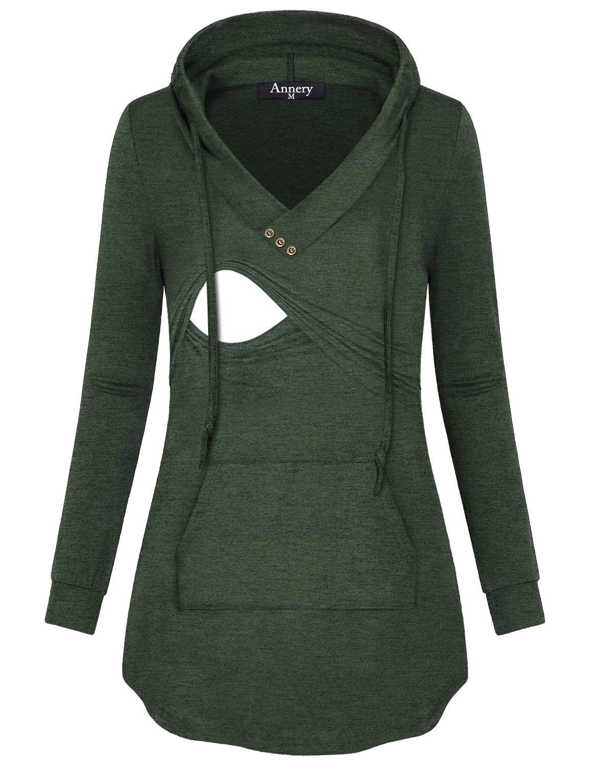 Annery Latched Mama, Ladies Loose Knitting Hoodie Maternity Nursing and Pumping Fall Sweater Breathable Soft Simple Style Tops with Kangaroo Pocket(Green,X-Large)
