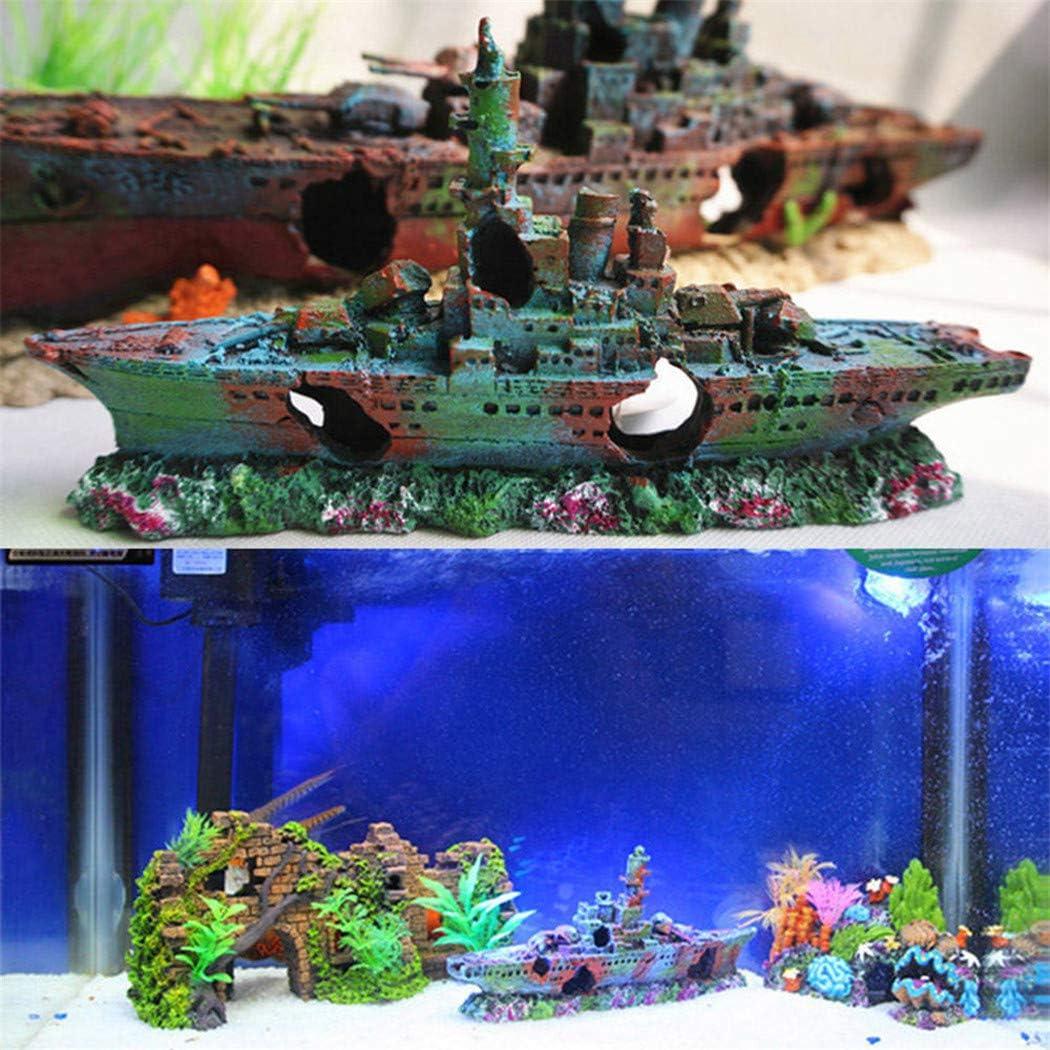 Adorno de resina para acuario accesorios perfectos para escondites de peces ASCENDTING dise/ño de barco de guerra para acuario