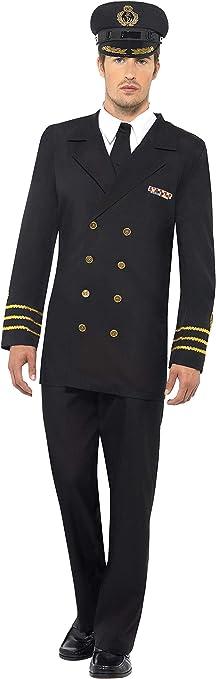Smiffys-38818L Disfraz de Oficial de la Marina, Hombre, Chaqueta, Pantalones, Camisa postiza y Gorro, Color Negro, L-Tamaño 42
