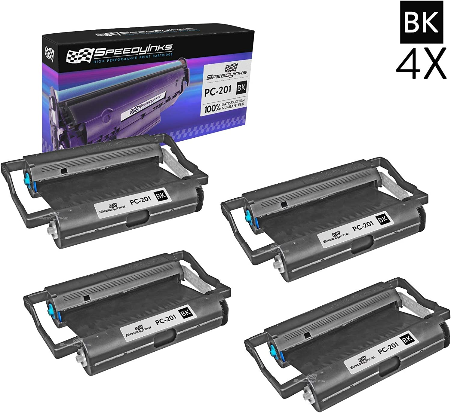4PK Brother PC201 Compatible Fax Cartridge with Roll for Brother Intellifax 1170