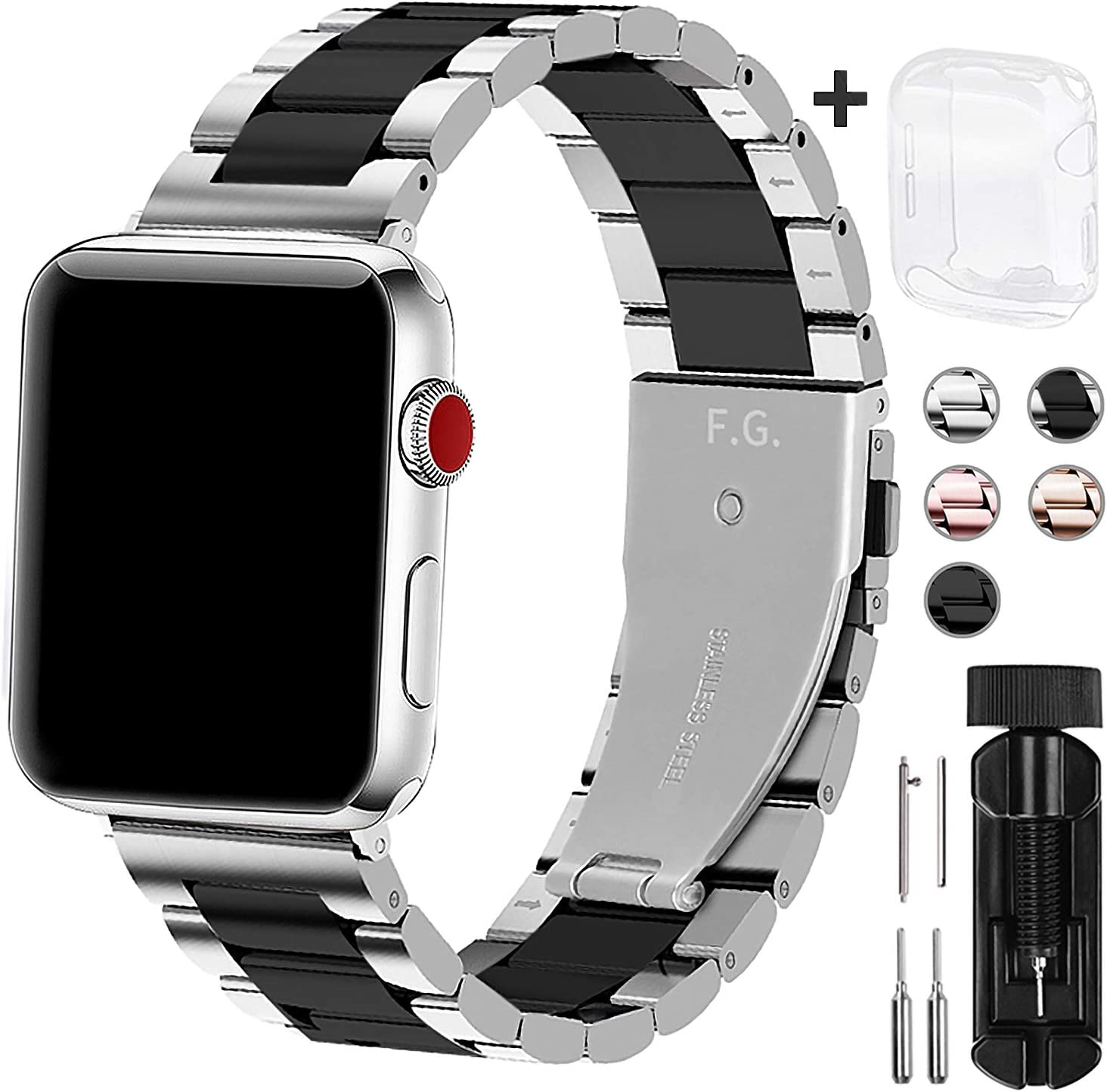 Fullmosa Compatible Apple Watch Band 44mm 40mm 38mm 42mm with Watch Case, Stainless Steel Metal for Apple Watch Series SE 6 5 4 3 2 1 Bands, 42mm 44mm Sliver+Black