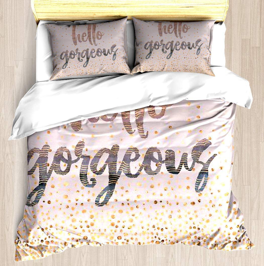 SINOVAL Hello Gorgeous Lilac Periwinkle Rose Gold Confetti Twin/Twin XL Extra Long Brushed Microfiber 1 Duvet Cover 2 Pillow Shams Zipper Closure