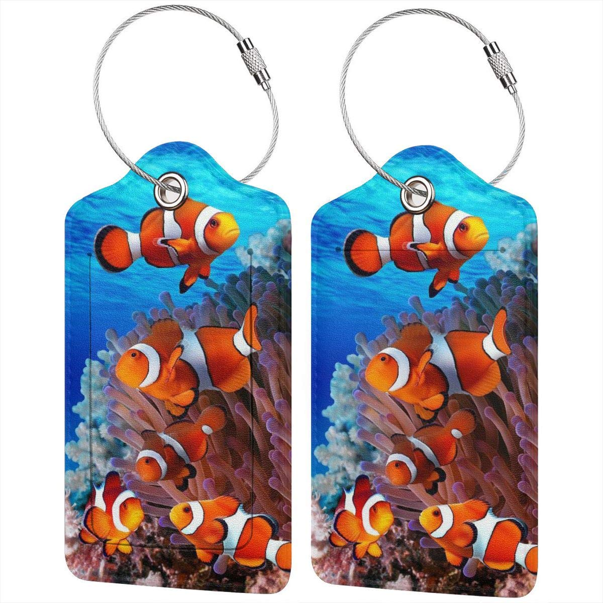Underwater World Plants And Shark Luggage Tags With Full Back Privacy Cover W//Steel Loops