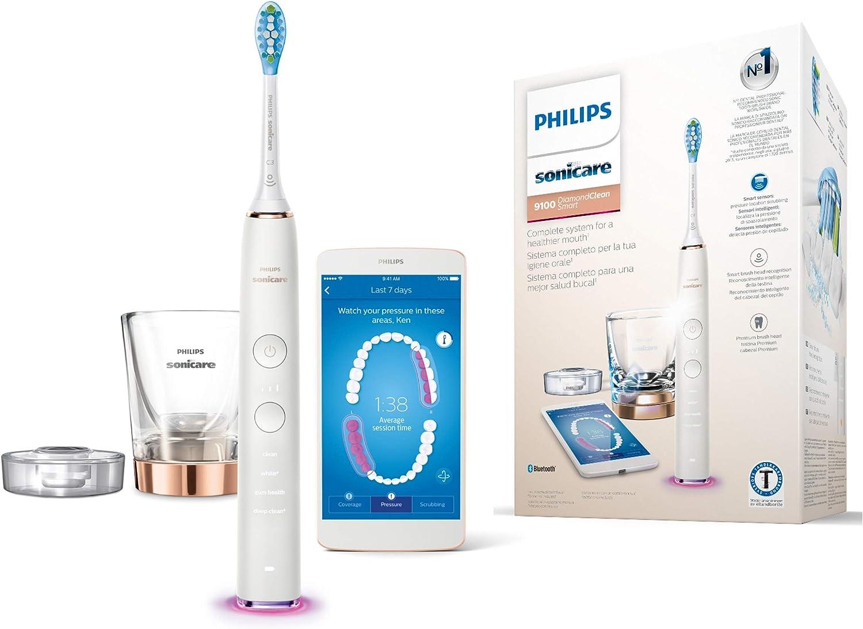 Philips Sonicare DiamondClean Smart HX9901/63 - Cepillo de dientes eléctrico con App de formación personalizada, sensor de presión, 4 modos, 3 intensidades y cargador de vaso, color oro rosa: Amazon.es: Salud y