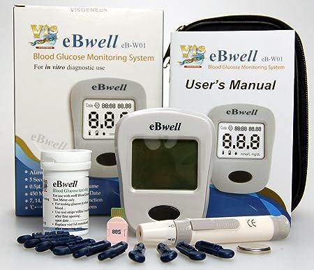 ebwell eb-w01 Glucosa En Sangre Monitor Starter Pack Ideal Medidor de glucosa Medidor para diabéticos: Amazon.es: Salud y cuidado personal