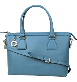 fcbd3bfee Gucci GG Charm Teal Blue Leather Medium Convertible Straight Bag With Strap  449659 4618