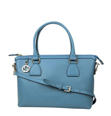 572d9eb17e8 Gucci GG Charm Teal Blue Leather Medium Convertible Straight Bag With Strap  449659 4618