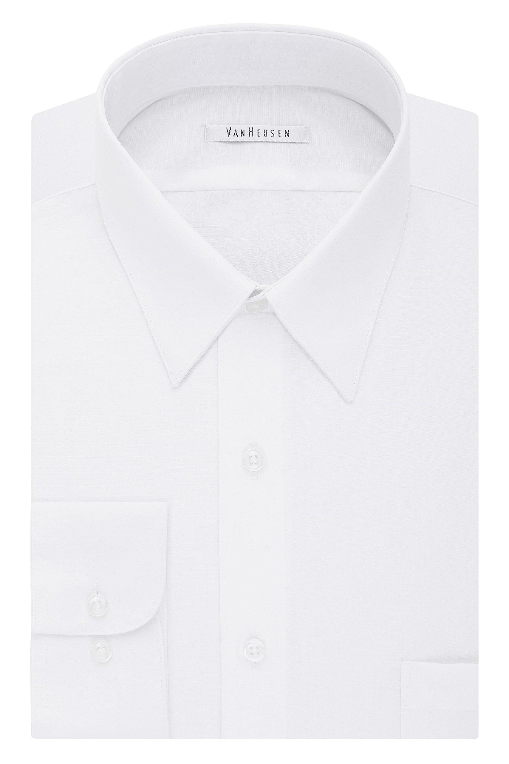 Van Heusen Men's Tall Dress Shirt Big Fit Poplin, White, 19'' Neck 34''-35'' Sleeve