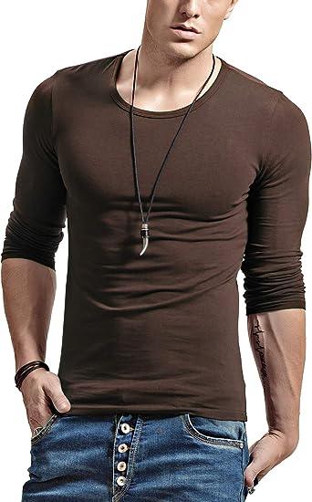 XDIAN Maglietta Uomo Maniche Lunghe Slim Fit Cotone O-Collar T-Shirt
