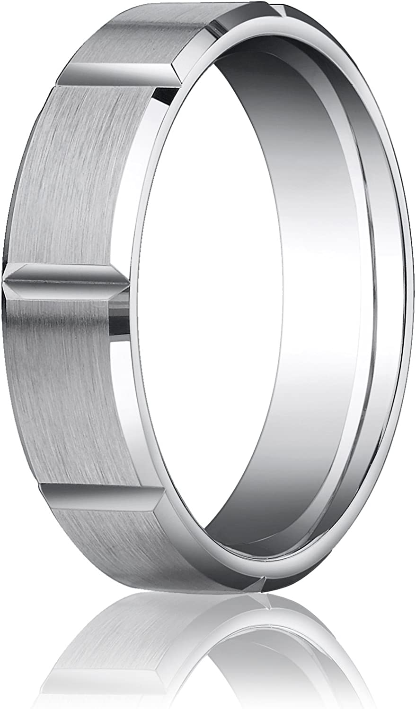 Mens 10K White Gold 6mm Comfort Fit Flat Satin Link Wedding Band Ring