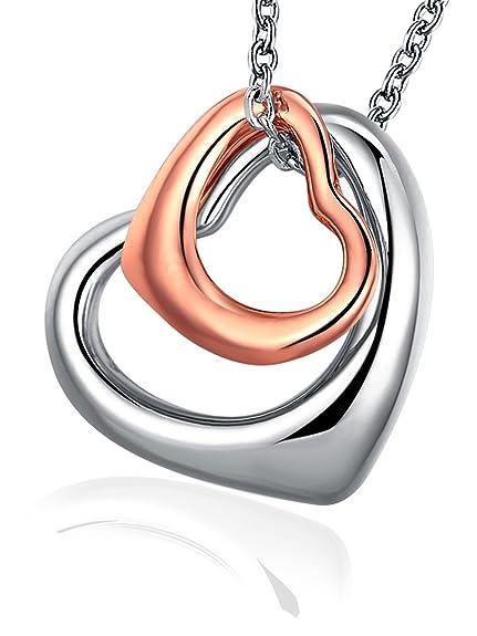 54a8b8ef06bb Corazón Collares con Colgante - de Mujer Regalo Joyería con Oro Rosa y Oro  Blanco Chapado de Borong  Amazon.es  Joyería