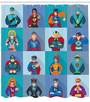 Ambesonne Superhero Shower Curtain Characters With Supernatural Powers In Special Costumes Comic Strip Humor Print