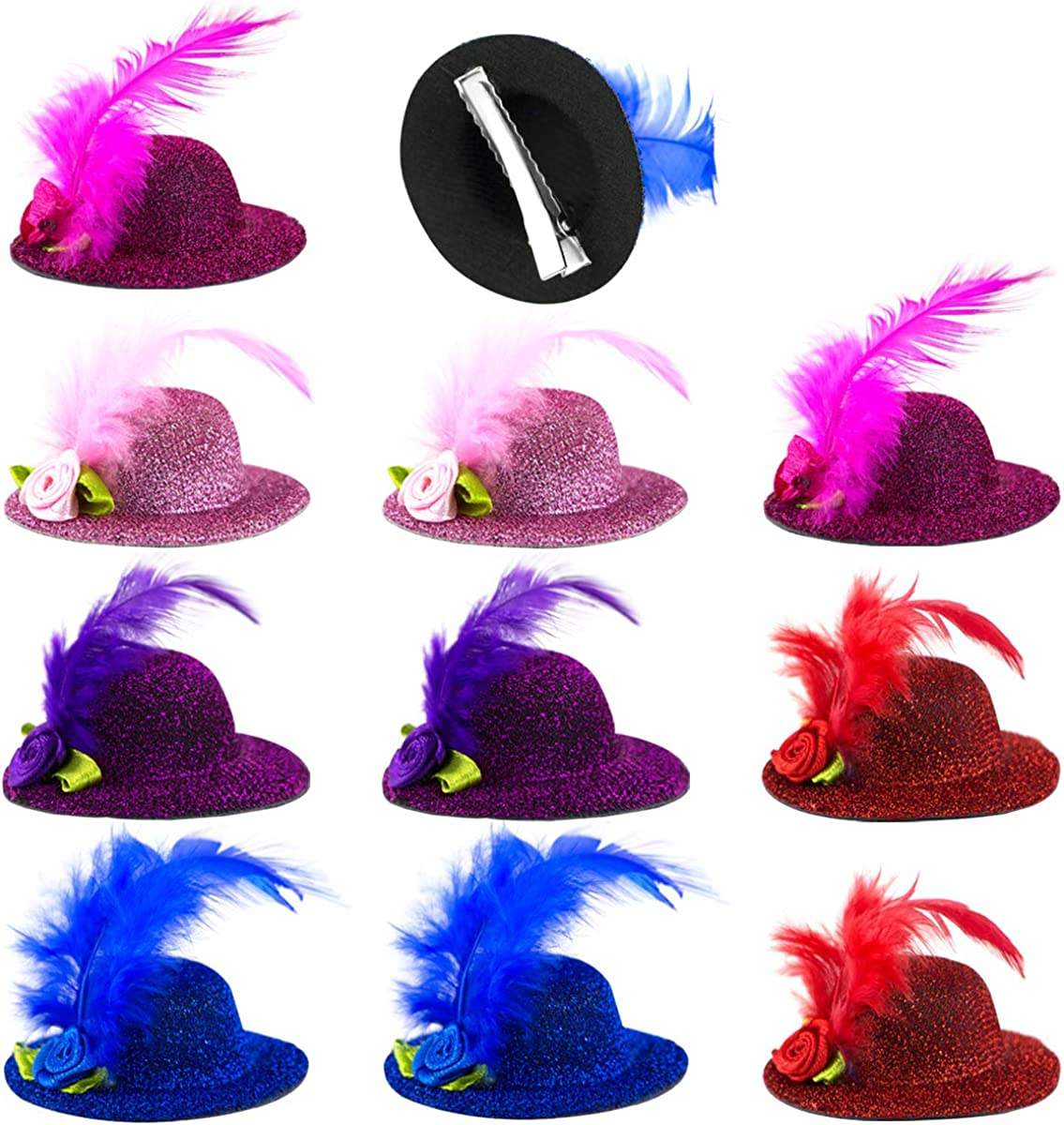 PACK OF MINI FASCINATOR CAPS CLIP ON HAT FLOWER FEATHER FANCY DRESS LOT