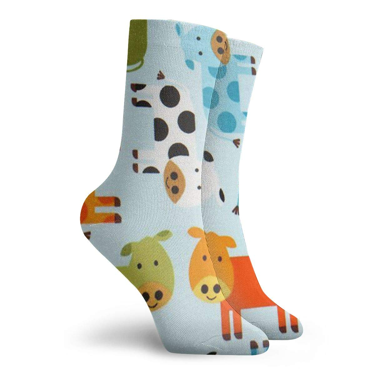 Colorful Cow Pattern Unisex Funny Casual Crew Socks Athletic Socks For Boys Girls Kids Teenagers