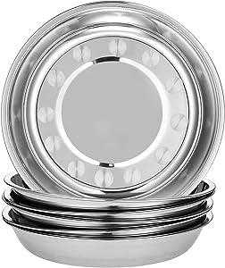 Eslite 6-Piece 18/10 Stainless Steel Round Plates,Dinner Plate Dish,9-Inch