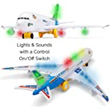 Toyze A380 Airplane Airbus Toy Model With Beautiful Attractive Flashing Lights and Loud Music, Bump and Go Action