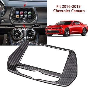 Xotic Tech for Chevrolet Camaro 2016-2019 GPS Navigation Panel Trim Cover, Carbon Fiber Car Interior Dashboard Radio Screen Navigation Control Panel Frame Decoration