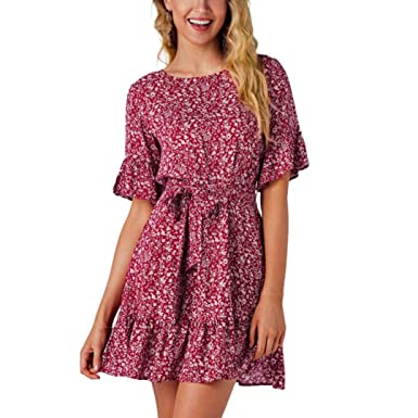 e806fe32d245e YOUBan Damen Sexy Print Blumenkleid Mädchen Sommer dünnes Kleid ...