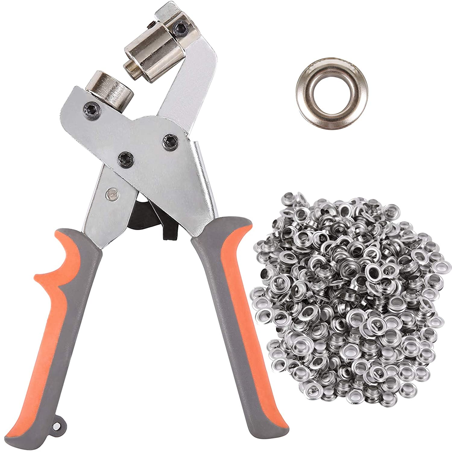 Handheld Grommets 3//8 InchPunching  Hole Pliers Press+500pcs Silver Grommets