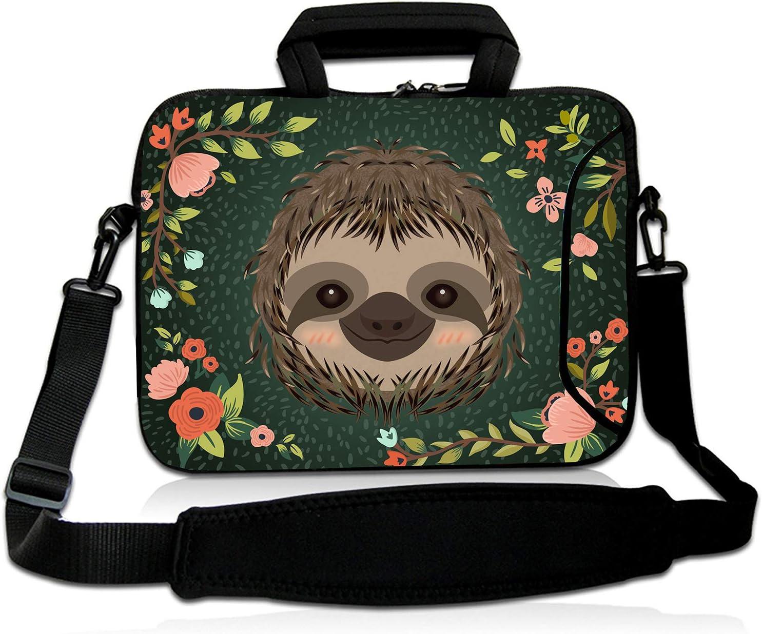 """Violet Mist 13""""15""""15.6""""Neoprene Laptop Sleeve Bag Waterproof Sleeve Case Briefcase Pouch Bag Adjustable Shoulder Strap External Pocket for Men Women(11""""12""""13""""-13.3"""",Sloth Flower)"""