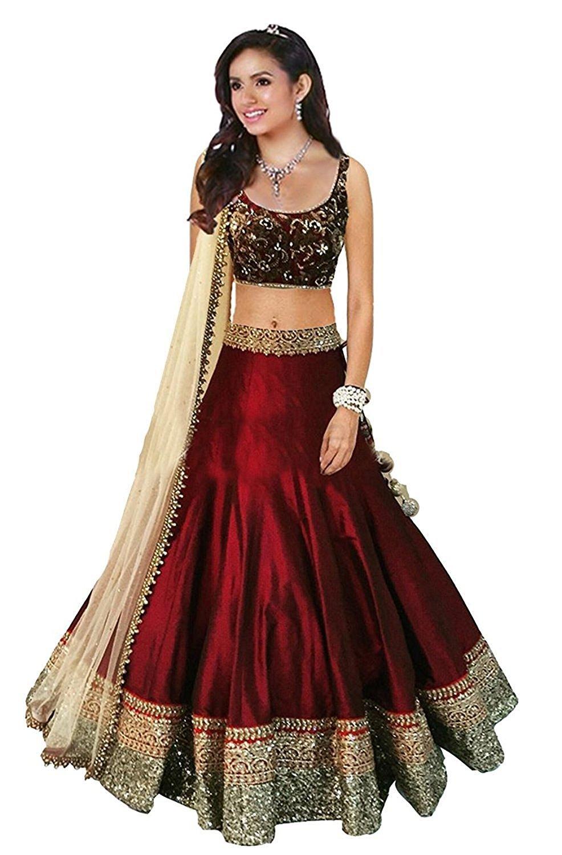 Rekha Ethnic Shop Maroon Color Designer Lehenga Choli Women's Western Wear Bollywood Party Wear Choli
