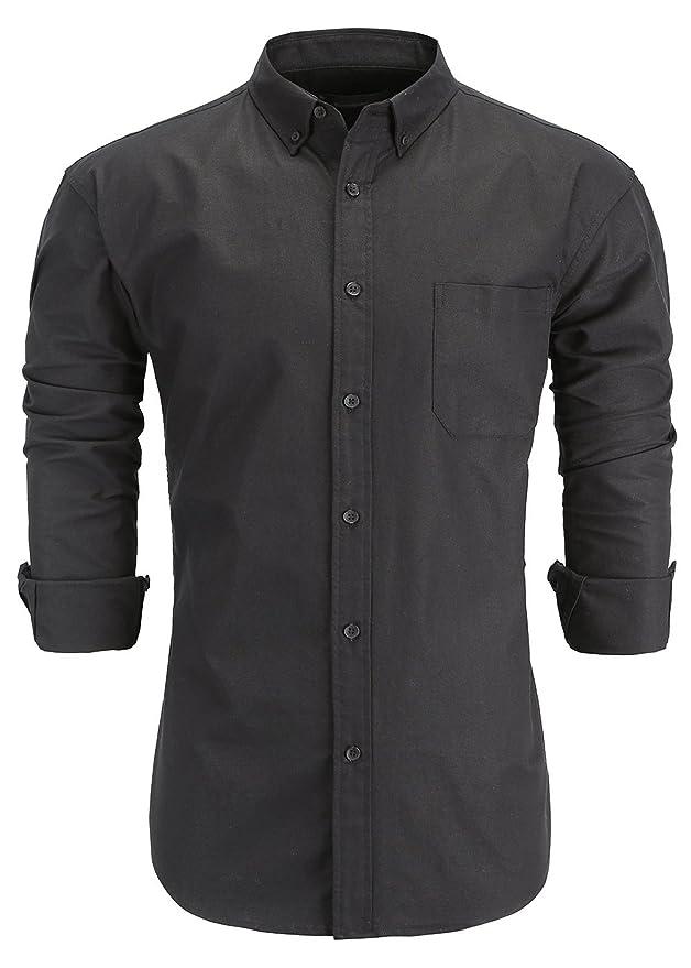 GoldCut Men's 100% Oxford Cotton Slim Fit Long Sleeve Button-Down Dress Shirts