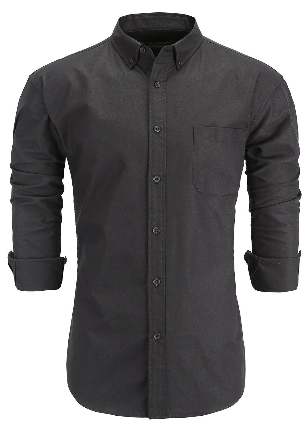 GoldCut Men's 100% Oxford Cotton Slim Fit Long Sleeve Button-Down Dress Shirts Large Black